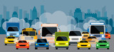 Fototapety Vehicles on Road with Traffic Jam Pollution, Front View with City Background