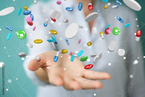 Businesswoman holding and touching floating medicine pills 3D rendering