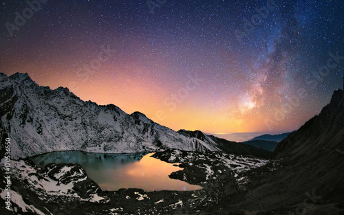 Milly Way above the mountains. Gosaikunda lake, Himalayas, Nepal.