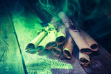 Witch workshop with green light and scrolls for Halloween - 170537143