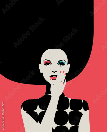 Portrait of fashionable woman with big hairdo in bright colors on pink background. Retro pop art style. Eps10 vector