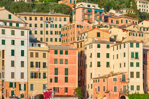 Foto op Canvas Liguria Camogli typical Italian village with colorful houses background, Liguria in a sunny day
