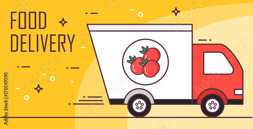 Vector banner for fast delivery food. Thin line flat design card.