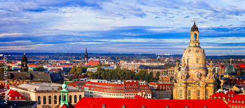 Fotobehang Freesurf landmarks of Germany - panorama of beautiful baroque Dresden over sunset