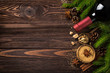 Christmas food background with ingredients for mulled wine