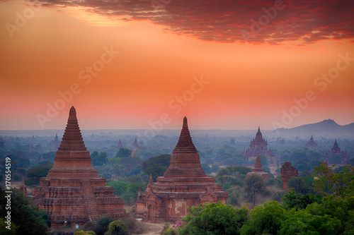 Aluminium Fyle Sunset over Bagan