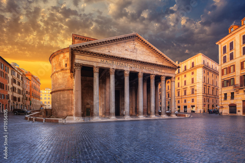 view of Pantheon in the morning. Rome. Italy. Poster