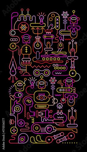 Papiers peints Art abstrait Robot Workshop vector illustration