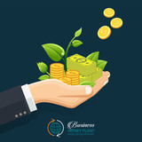 Businessman investment concept. Hand giving money, coins with sprout. Growth investment conceptual. - 170556799