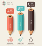 Education concept. Pencil and bubble speech with icons. can be used for web design, banner template, number options, step up options, workflow layout, diagram, infographic. - 170557149