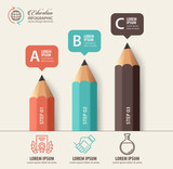 Education concept. Pencil and bubble speech with icons. can be used for web design, banner template, number options, step up options, workflow layout, diagram, infographic. - 170557153