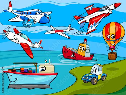 Fotobehang Auto transportation vehicles cartoon illustration