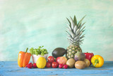 healthy food, fruits and vegetables, on grungy background