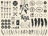 Vector illustration with design illustrations for decoration. Big silhouettes set of keys, locks, wreaths, illustrations, branch, arrows, feathers on white background. Vintage style. - 170563785