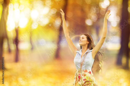 Autumn Woman, Happy Young Girl, Floating Model Open Arms in Yellow Sunny Forest