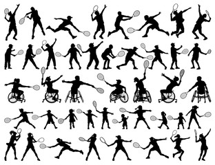 vector silhouettes collection of people playing tennis, disabled children elderly man woman