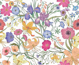 Beautiful seamless floral pattern . Flower vector illustration. Field of flowers