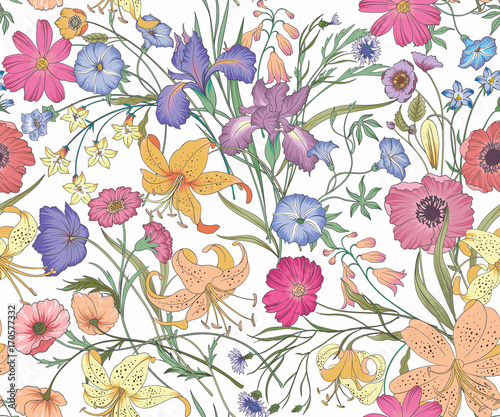 Beautiful seamless floral pattern . Flower vector illustration. Field of flowers - 170577332
