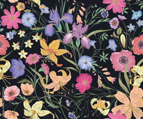Beautiful seamless floral pattern . Flower vector illustration. Field of flowers - 170577368