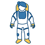 Cute astronaut cartoon icon vector illustration graphic design - 170577587