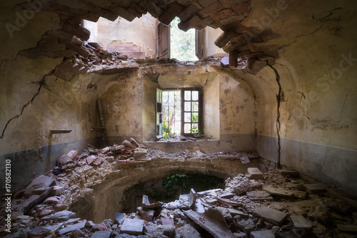 Abandoned Villa with Hole in Floor