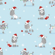 Christmas pattern with cute poodle dogs on blue. Vector holiday background