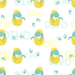 Cute little dinosaur in egg seamless pattern. Vector background for kids.
