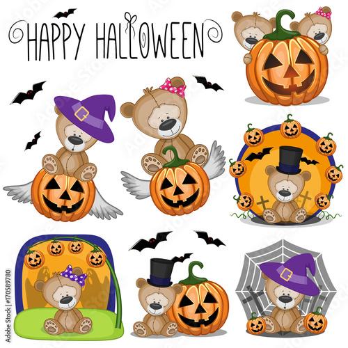Halloween set with Cartoon Teddy Bear