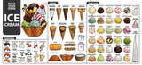 Set of isolated all part of ice cream for build your own style. Cute hand drawn in colorful and black outline. - 170590717