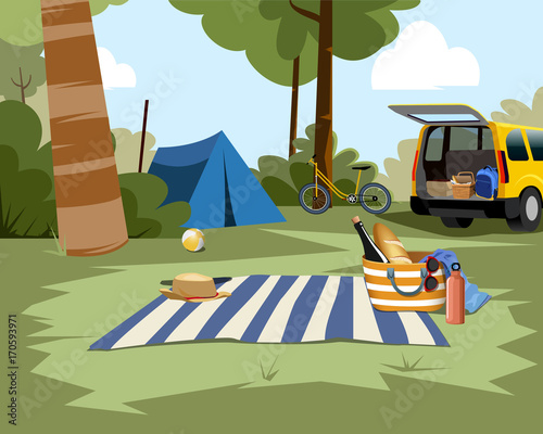 Fotobehang Auto Picnic scene with tent, car and nature background