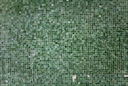 Fotobehang Stenen Texture Stone Wall Background Ground Flat pattern mosaic tile raster square quad Rough Dirty Grunge Dark Spot Green Jade Lines Strokes Close Up Art Handmade DIY Bath Spa Fashion Ad mediterranean suite