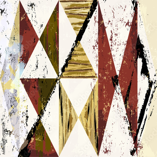 Fotobehang Abstract met Penseelstreken abstract background composition, with paint strokes, splashes and geometric lines