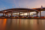 Beautiful Big Bhumibol Bridge in sunset time / Big expressway bridge at the river