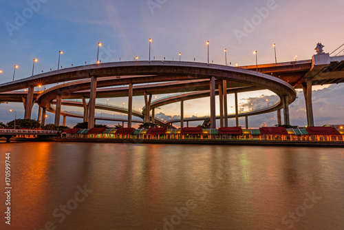 Beautiful Big Bhumibol Bridge in sunset time / Big expressway bridge at the river