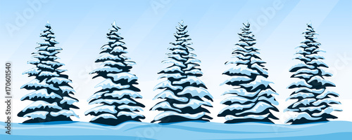 Aluminium Pool Set of snow-covered firs