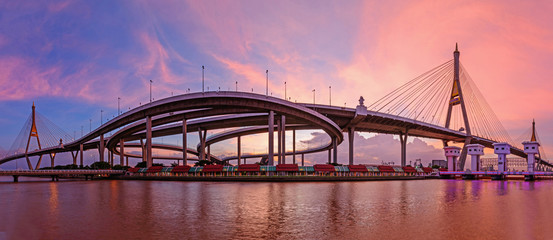 Panorama Beautiful Big Bhumibol Bridge / Big expressway bridge at the river