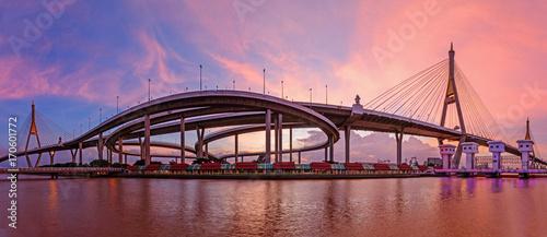 Fotobehang Bangkok Panorama Beautiful Big Bhumibol Bridge / Big expressway bridge at the river