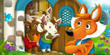 cartoon scene with fox and little goats - illustration for children