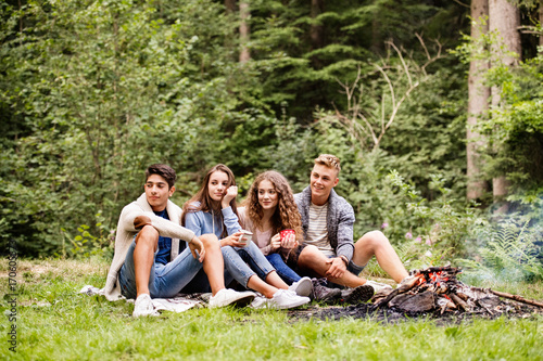 Teenagers camping in nature, sitting at bonfire. - 170605573