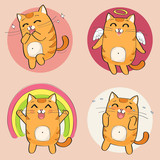 Cute cat character. Set of cute cartoon cat in various poses