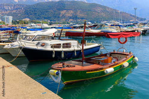 Colorful fishing boats in the bay of Budva, Montenegro