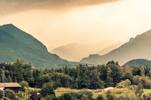 Fotobehang Khaki View of Austrian Alps near Salzburg