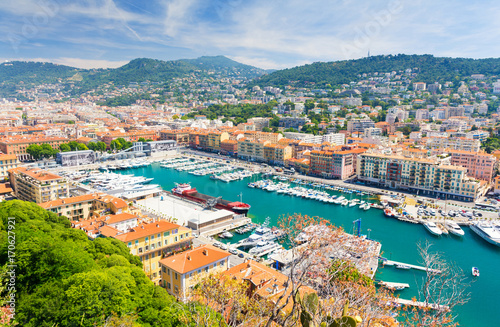 Foto op Aluminium Nice view on harbour in Nice, french riviera, cote d'azur, south France