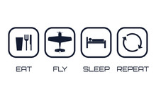 Eat Fly Sleep Repeat Icons   Sticker