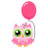 Owl girl with rose balloon