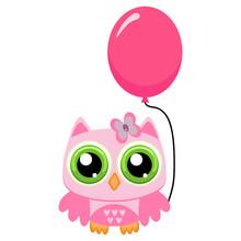 Owl Girl  Rose Balloon Sticker