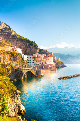 Morning view of Amalfi cityscape on coast line of mediterranean sea, Italy Poster