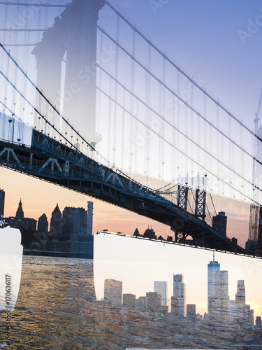 Plagát Double exposure shot of Manhatten Bridge and NYC skyline at sunset