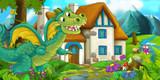 Cartoon scene of a dragon flying near the village - illustration for the children