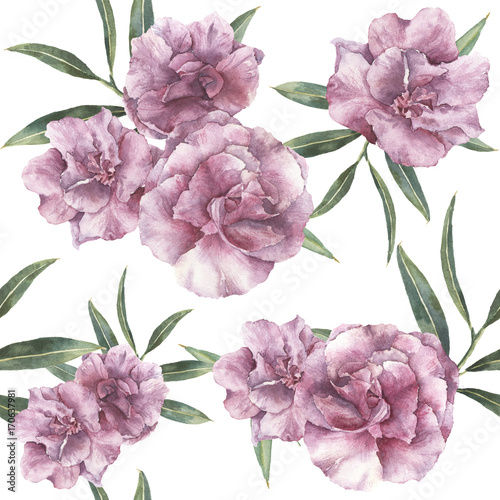 Watercolor seamless pattern with oleander. Hand painted oleander flowers with leaves and branch isolated on white background. Botanical ornament for design, print, fabric. - 170637981